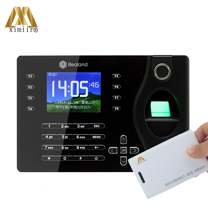 Free Shipping Realand A-C081 P2P Biometric Fingerprint Reader 125KHz RFID Card Time Attendance Clock Employee Recorder
