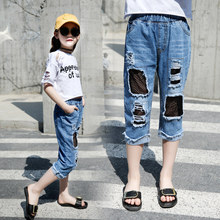 Fashion Ripped Jeans For Kids Girl Clothes Long Hole Girls Jeans Pants Summer Destroyed Denim Trousers Pants For 4-12 Years Girl fashion ripped jeans for kids girl clothes long hole girls jeans pants summer destroyed denim trousers pants for 4 12 years girl