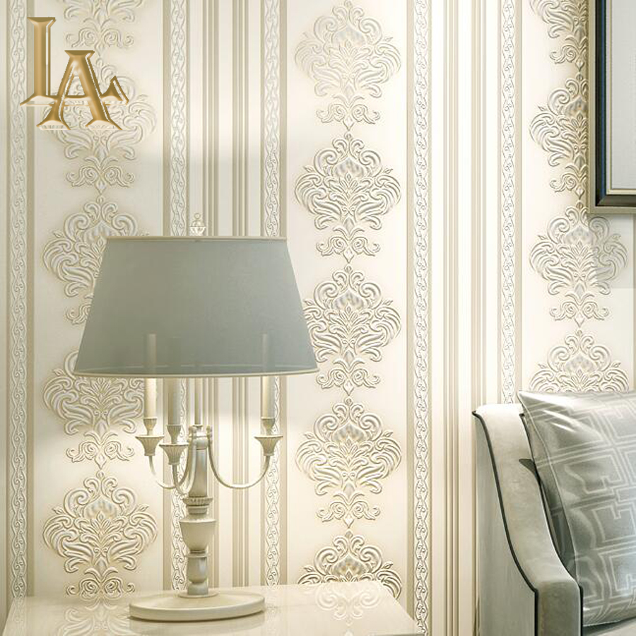 Buy european damask striped wallpaper for Home decor products