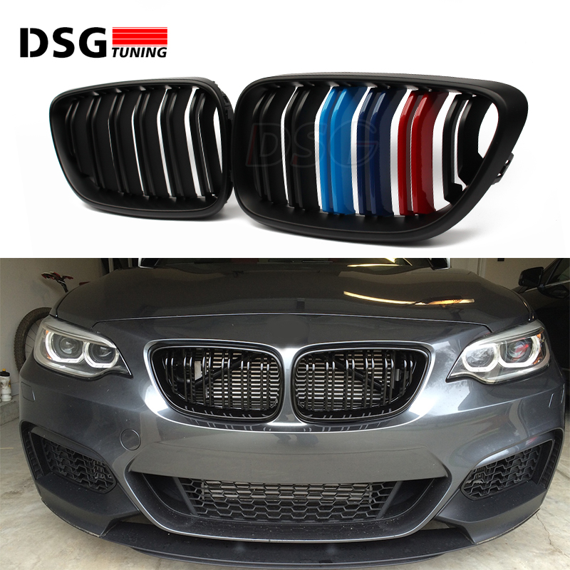 2 series F22 carbon fiber front grille for BMW M2 F87 F23 for bmw 2 series f22 f23 coupe and convertible f87 m2 2014 up dual slats front grille gloss black finish carbon fiber m look