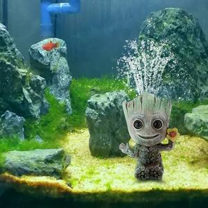 Image 3 - Baby Groot Aquarium Decoration Fish Tank Tree Shape Decor Oxygen Pump Air Bubble Stone Air Pump Drive Fish Tank Toy
