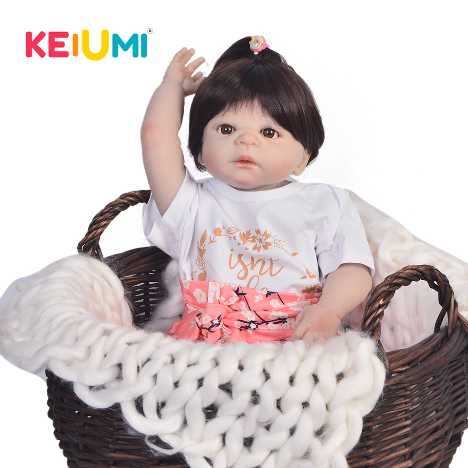 KEIUMI 23'' Full Silicone Reborn Baby Doll Girl Toys Lifelike Babies Doll Full Vinyl Body Fashion Dolls Reborn Menina Kids Gifts keiumi realistic silicone reborn babies doll lifelike 22 princess baby girl doll gold hair bebe reborn toys for kids gifts