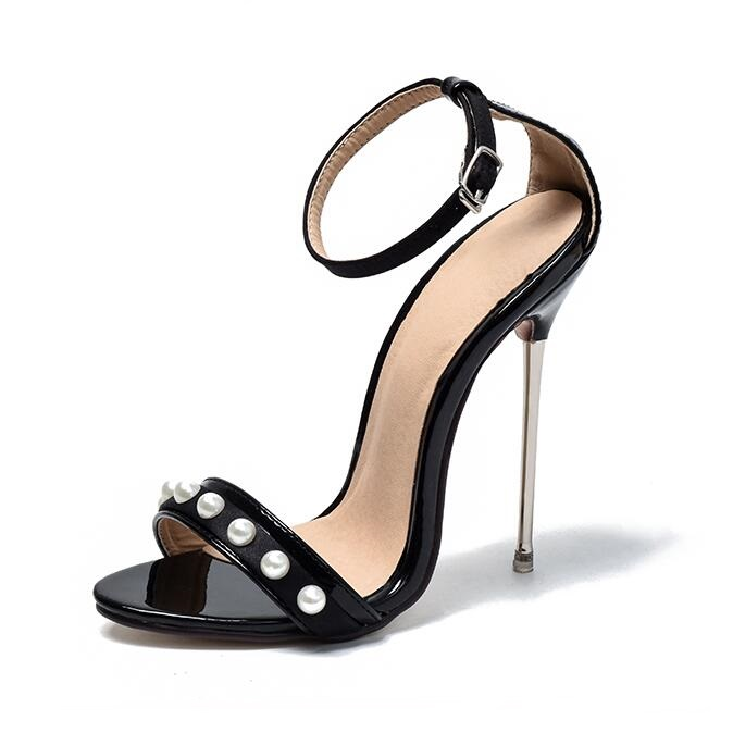New Designer Pearl Decoration High Heeled Women Sandals Cut-out Ankle Wrap Metal Heels Shoes Sexy Gladiator Sandals Summer Shoes summer new fashion ankle wrap glitter sandals sexy open toe cut outs high heels women ruffles decoration gladiator sandals
