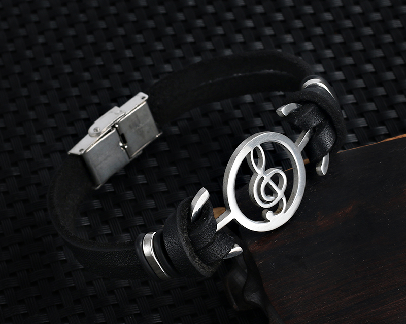 Stainless steel Music Leather Bracelets with Treble Clef IMG_0125
