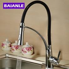 Baianle одной ручкой тянуть вниз смеситель для кухни черный и хромированной отделкой двойной сопла распылителя холодной и горячей воды смеситель для ванной кран