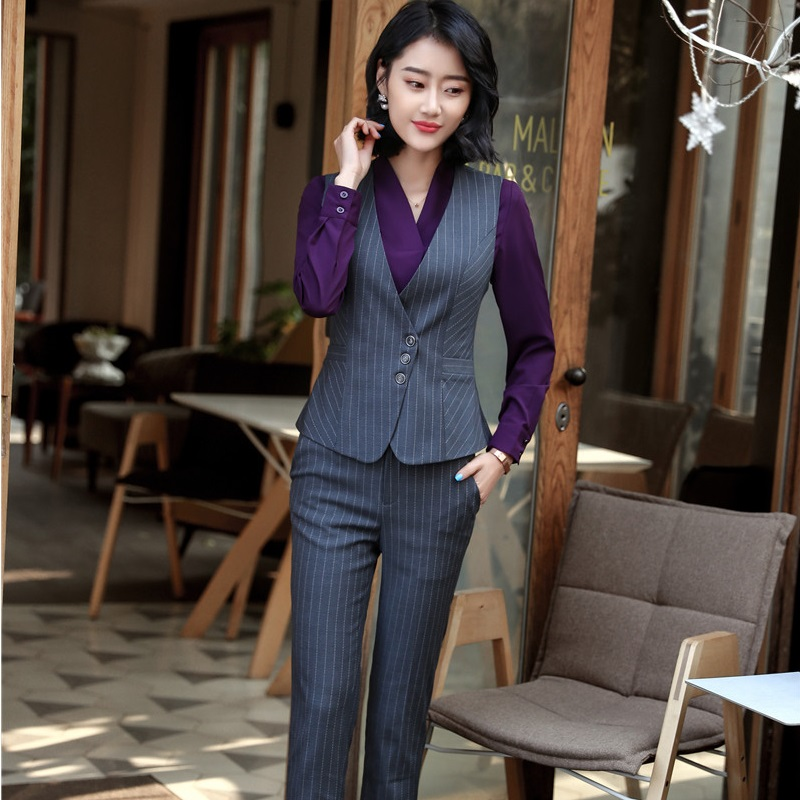 Fashion Striped 2018 Spring Summer Uniform Designs Pantsuits With Tops And Pants For Ladies Vest Coat & Waistcoat Sets Plus Size