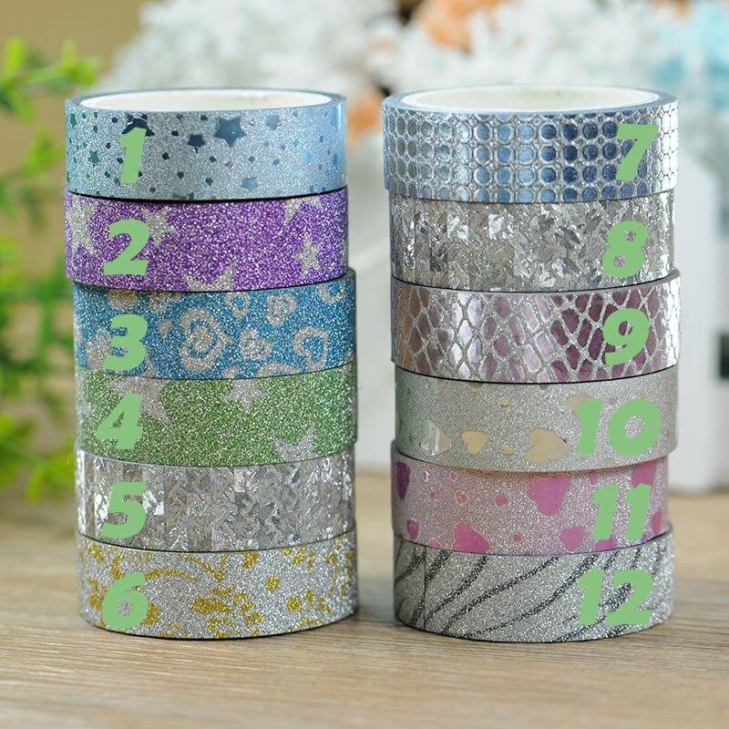 15mm*5m Japanese Craft Glitter Washi Tape DIY Sticker Gift Packing Decorative Adhesive Tape Multicolour Paper Masking Tape