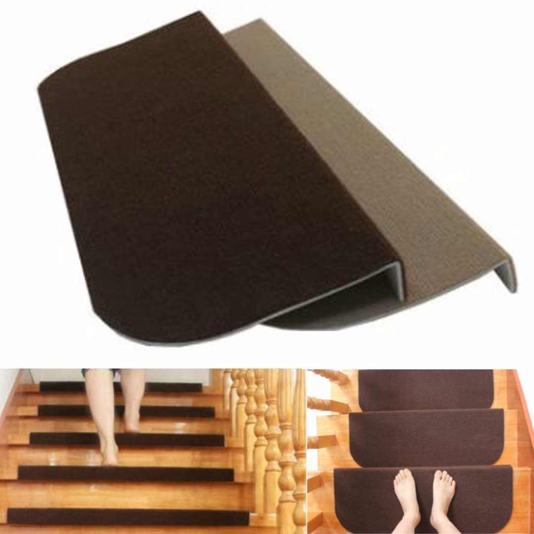 Non Slip Adhesive Carpet Stair Treads Mats Staircase Step Rug   Non Slip Strips For Carpeted Stairs   Grip   Stair Nosing   Gravel   Slip Resistant   Brown Cinnamon
