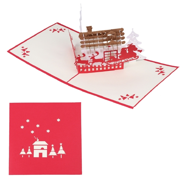 3D Pop Up Christmas Deer Handmade Greeting Cards Happy New Year ...