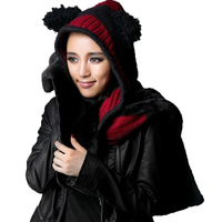 Lolita Women Scarf Black Red Striped Fashion Scarf With Hoodie Cute Shawl With Hat