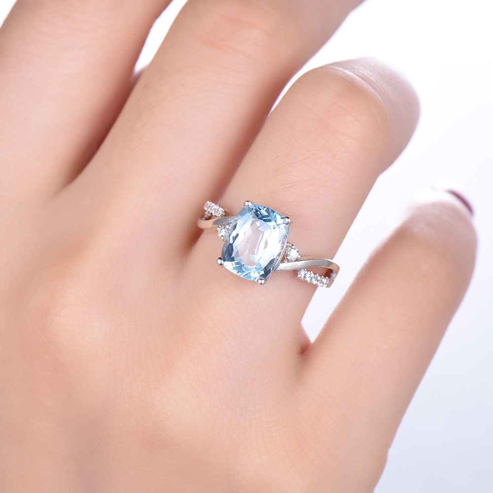 Aquamarine Engagement Ring Cushion Cut 14k White Yellow Rose Gold ...