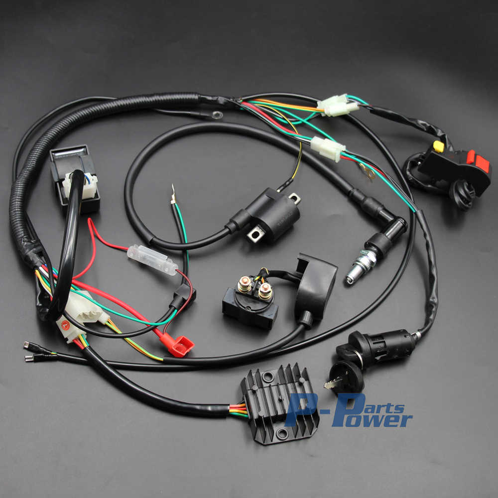 complete engine electrics wiring harness spark plug ac cdi ignition coil kits for chinese dirt bike [ 1000 x 1000 Pixel ]