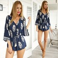 Super Stylish Lady Women's Casual Sexy V-neck 3/4 Sleeve Print Short Jumpsuit Loose Rompers 36