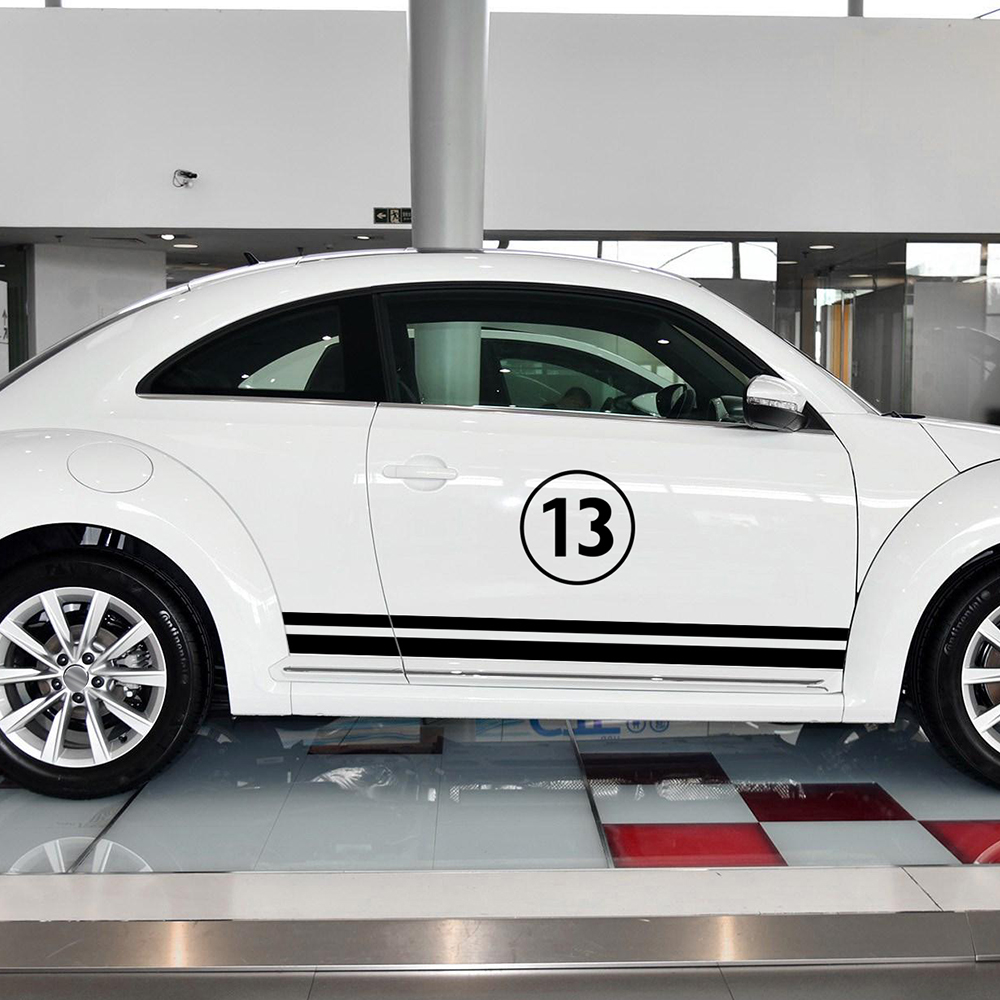 Car Styling Door Side Stripe Skirt Stickers Body Customizable Motorsports Graphics Decal Set for Volkswagen Beetle Accessories