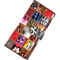 Neweekend Fashion Patchwork Women Wallet Luxury Genuine Leather Big Capacity Clutch Handbag Card Coin Purse Pouch