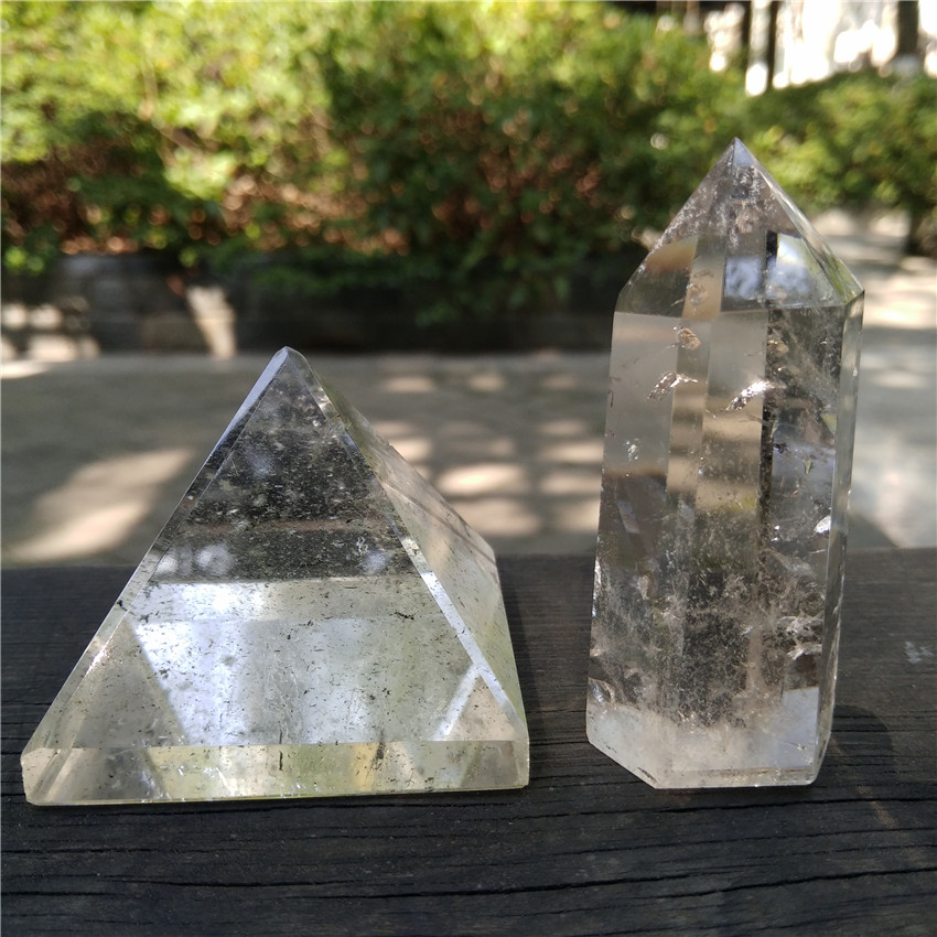 US $21 9 |Phantom Quartz Crystal Pyramid White Phantom Quartz Wand Kit  Ghost Quartz Pyramid phantom Crystal Point Healing pyramid Gift-in Stones  from