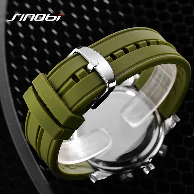 New SINOBI Brand Sport Watches For Men Waterproof Silicone Male Clock Digital Watch Men LED 2016 Luxury Watch Men Black Military