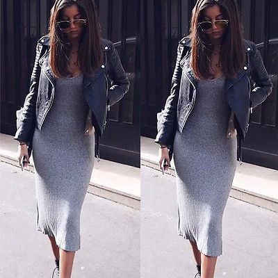Sexy Women Slim Bodycon Bandage  Strap Casual Dress Ladies Party Dress Size