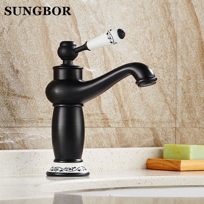 Solid Brass Deck Mounted Bathroom Sink Basin Faucet Black Brass Ceramic Single Handle Retro Style Mixer Tap AL-7186HSolid Brass Deck Mounted Bathroom Sink Basin Faucet Black Brass Ceramic Single Handle Retro Style Mixer Tap AL-7186H