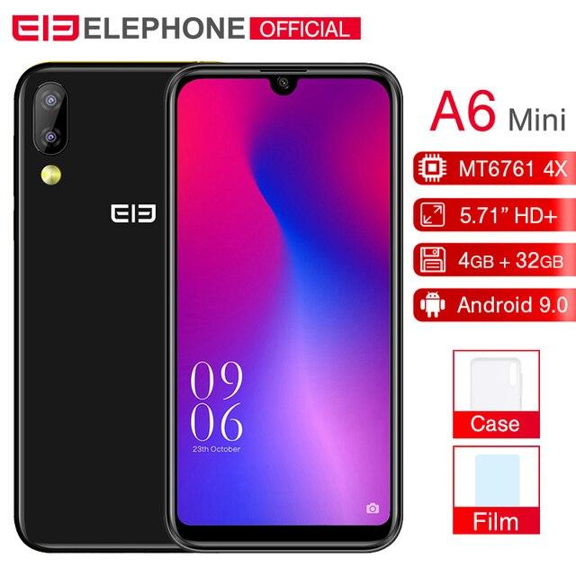 Elephone A6 Mini 5,71 ''водослива Экран мобильного телефона Android 9,0 MT6761 4 ядра HD + 4 GB 32 ГБ/64 ГБ 16MP 4G LTE смартфон