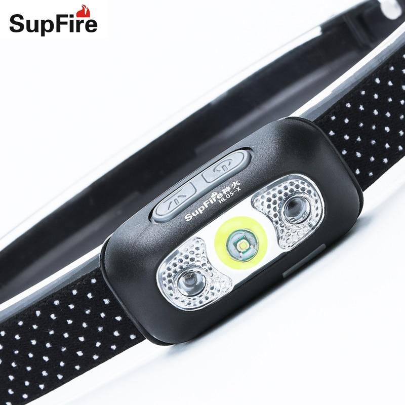 LED Phare Supfire HL05 USB Lampe de Poche Lampe Frontale Lampe Frontale Hoofdlamp Capteur Phare Tête de La Torche Lumière Lanterne LED S112