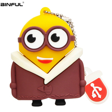 цена на Cute Usb Flash Drive 128GB 64GB Pen Drive 32GB 16GB 8G 4G Memory Stick Cartoon Various Styles Little Yellow Man Usb2.0 Pendrive
