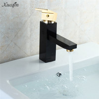 Xueqin Luxury Bronze Rose Gold Deck Mounted Basin Single Handle Bathroom Basin Faucet Mixer Cold And