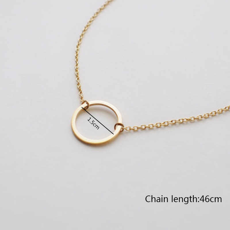 Hot Circle Pendants Necklace Silver Gold For Women Dainty Forever Circle Necklace Statement Necklace Fashion Choker Jewelry