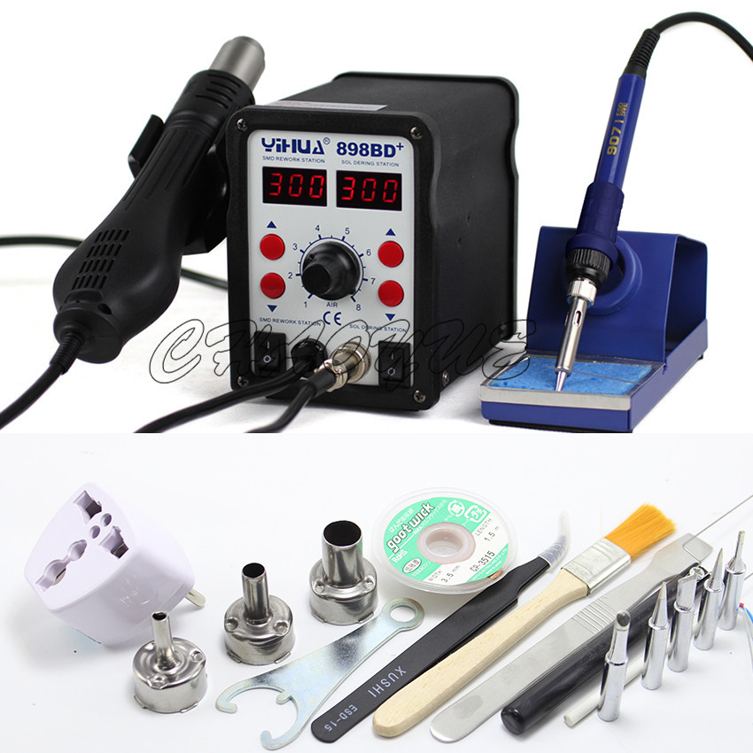 YIHUA 898BD+ 220V 2 in 1 Electric Solder iron + Hot Air Heat Gun SMD Rework Soldering Desoldering Station With Free Gifts Tools