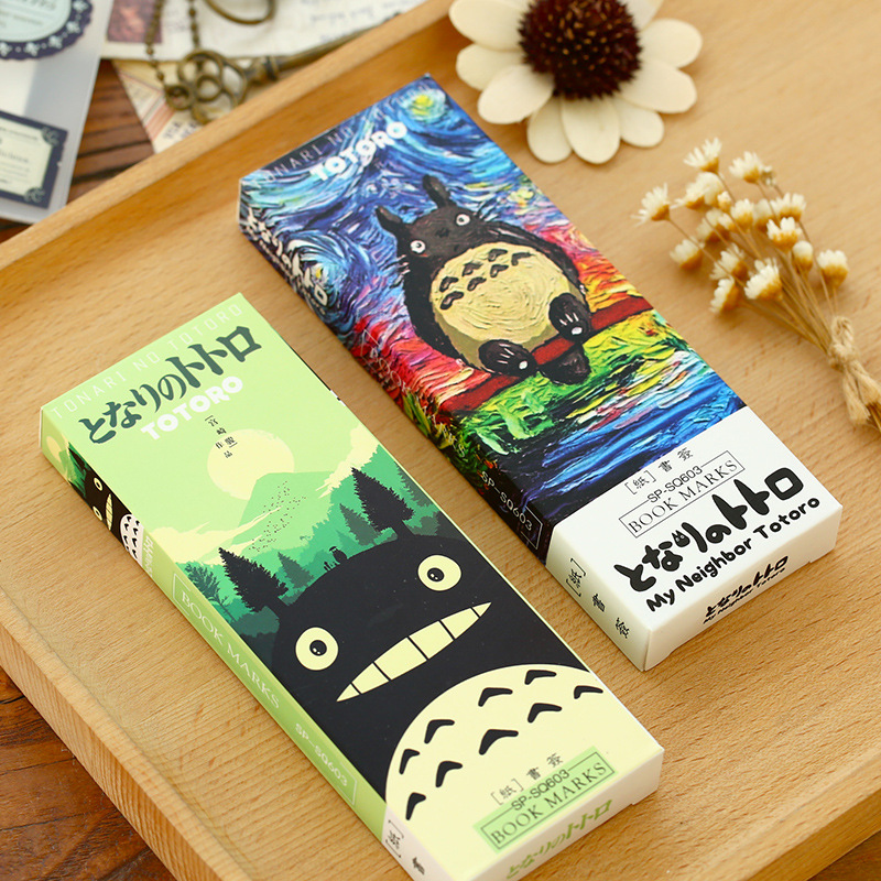 32 pcs/set Cartoon Totoro bookmark Anime paper page holder Memo card Stationery office School supplies separador de libros F392 full page bookmark magnifier