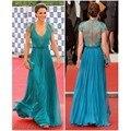 Celebrity Dresses Kate Middleton Blue Green Color  A Line V Neck  Sheer Lace Beaded Ribbon Kate Dresses
