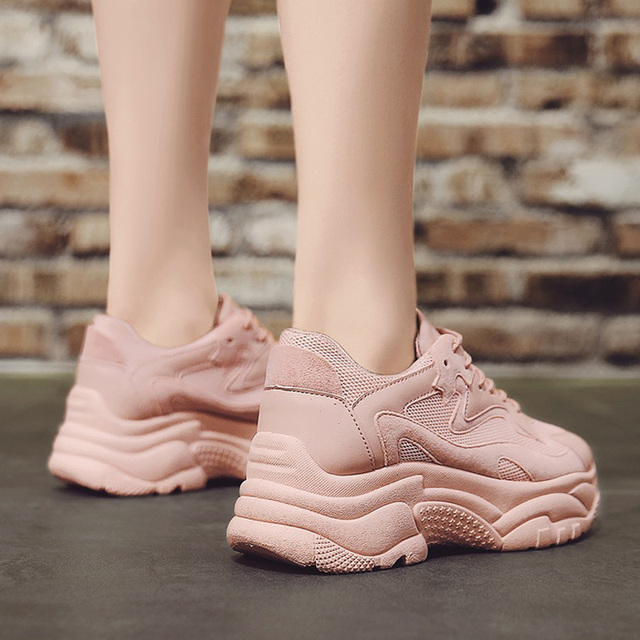 Women's Chunky Sneakers 2019 Fashion Women Platform Shoes Lace Up Pink Vulcanize Shoes Womens Female Trainers Dad Shoes 2