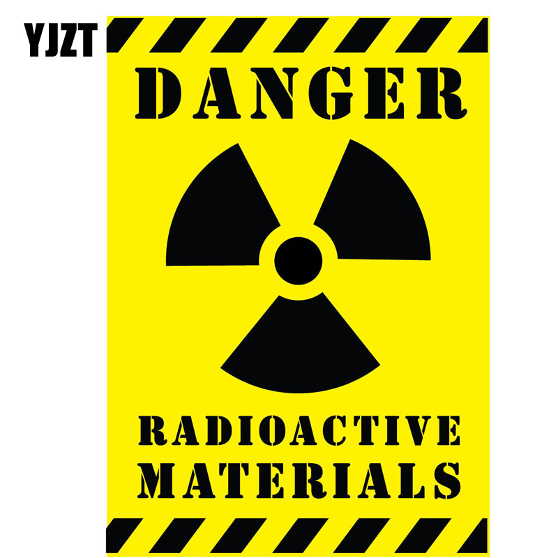 YJZT 10CM*14.2CM Car Sticker Reflective DANGER RADIOACTIVE MATERIALS Warning Mark Decal C1-7555