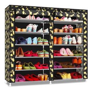 Image 4 - صفوف مزدوجة متعددة الطبقات أكسفورد القماش خزانة أحذية الغبار واقية من الرطوبة أحذية مضادة للماء المنظم الجرف أحذية الأثاث