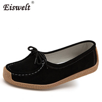EISWELT Women Moccasins Spring Autumn Split Leather Shoes Woman Lace Up Suede Leather Flats Lady Loafers