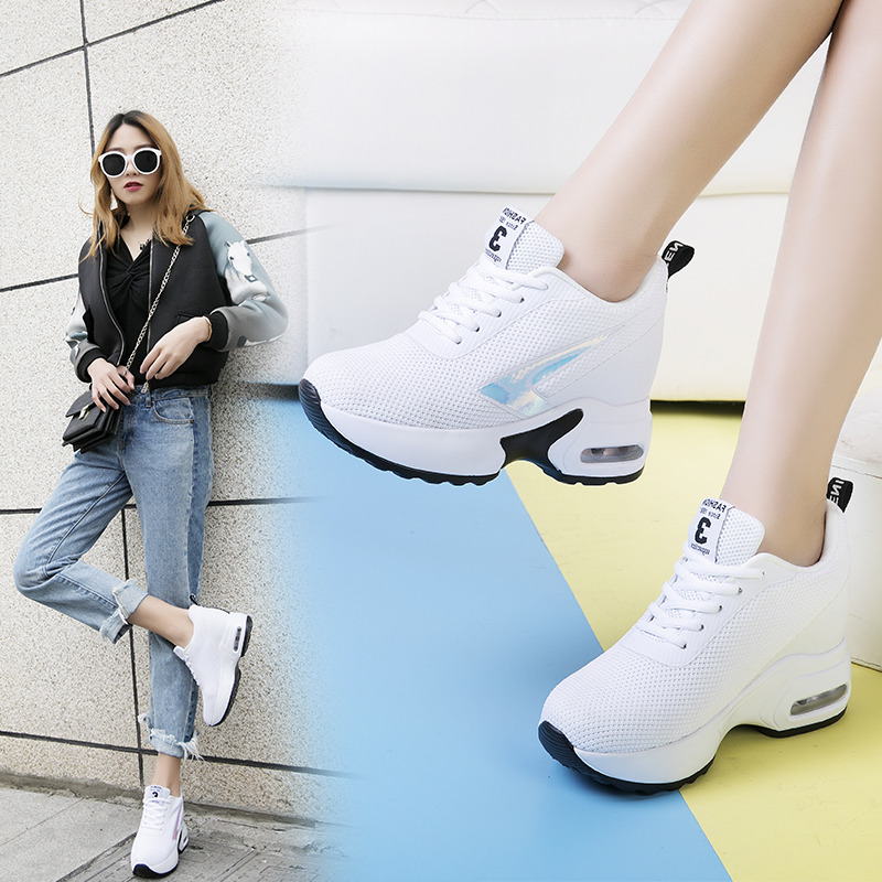 Image 5 - Fashion Air Mesh Height Increased Casual Shoes Woman Breathable Lace Up Platform Sneakers Hide Heels Women Wedge Sneakers XZ127-in Women's Vulcanize Shoes from Shoes