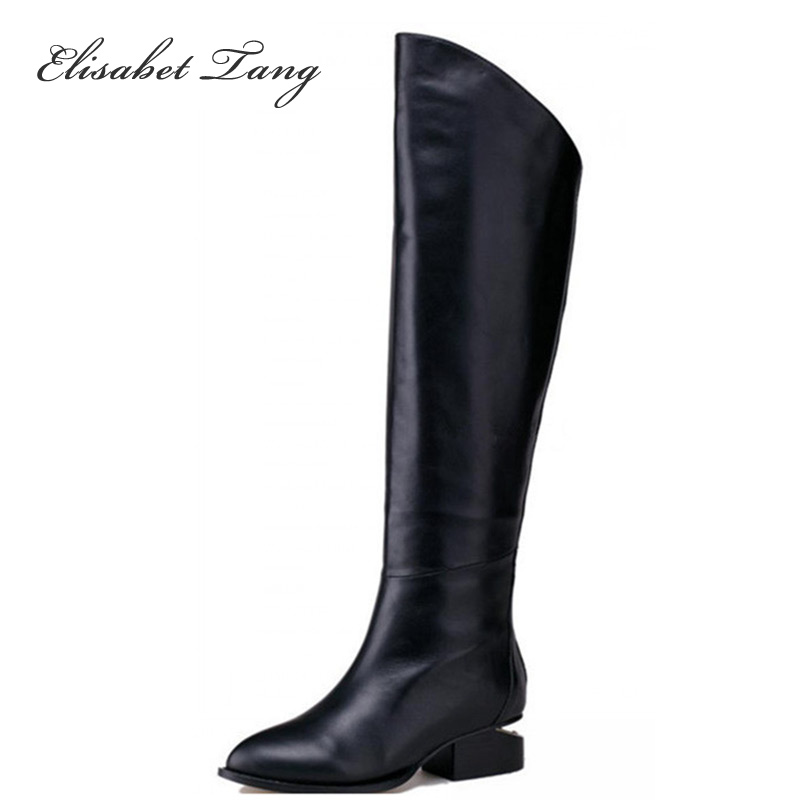 ФОТО New Arrival Sexy style Winter Women Comfortable knee high Boots Long Boots Woman Genuine Leather Chunky Heel Long Boots Shoes