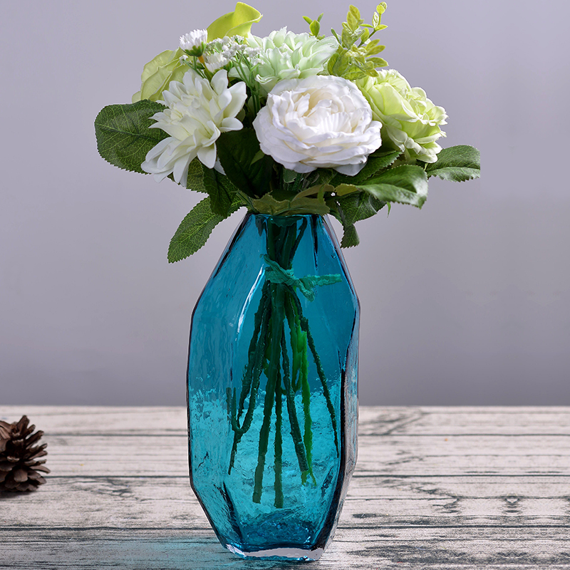 New Creative Handmade Glass Vase Floral Art Blue Floral Arrangement Craft Decoration Desktop Diamond Transparent BottleNew Creative Handmade Glass Vase Floral Art Blue Floral Arrangement Craft Decoration Desktop Diamond Transparent Bottle