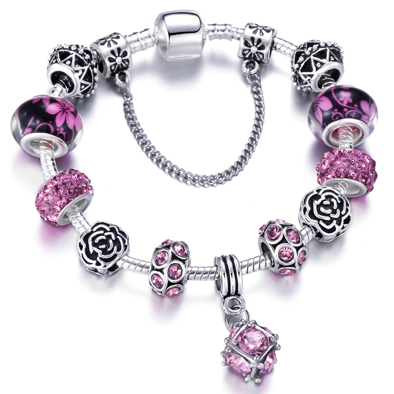 Jewelry & Accessories Spinner Fashion Silver Plated Murano Glass Charm Beads Fit Pandora Charm Bracelet For Women Jewelry Accessories Comfortable And Easy To Wear