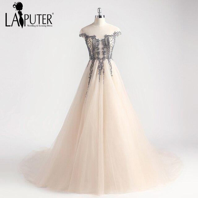 9b8022b17f0 Laiputer 2018 Champagne Grey Beading Puffy Luxury Amazing Elegant Vintage  Arabic Crystal Cap Short Sleeves Evening Prom Dresses