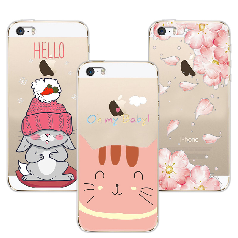 3D Relief Lace Flowers Case Balloon Cover For Apple iPhone 5 5s SE TPU Cute Cat