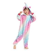 New Animal Starry Sky Pegasus Unicorn Pyjamas Flannel Kids Boys Girls Pajamas Onesies Children Cartoon Cosplay Sleepwear