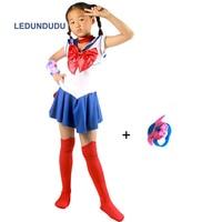 Hot Anime Super sailor moon cosplay costumes set usagi sailor jupiter Girls Fancy Dress venus Kids Clothes for Halloween
