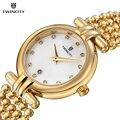 Twincity moda as mulheres se vestem assistir calendário à prova d' água relógio de pulso das senhoras strass relógios de quartzo de aço do sexo feminino relogio feminio