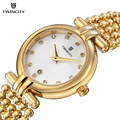 Vestido de las mujeres de moda reloj de señoras rhinestone de acero twincity calendario impermeable reloj de cuarzo relojes mujer relogio feminio