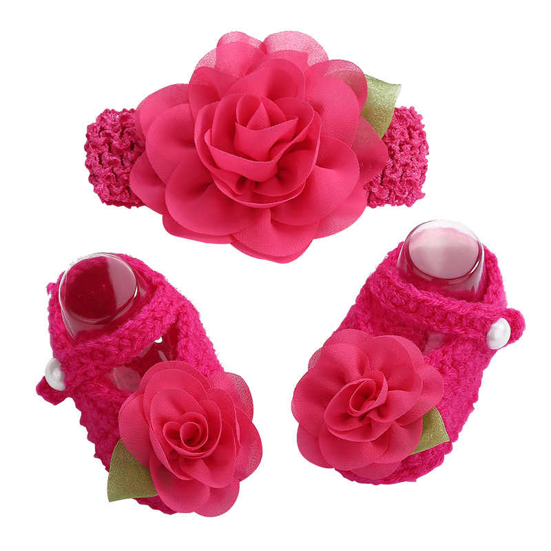 2016 Newborn Photo Props Zapatillas Bebe Girls Crochet Baby Shoes Flower Headband Set,Baby Shoes Girls Winter,Toddler Girl Shoes