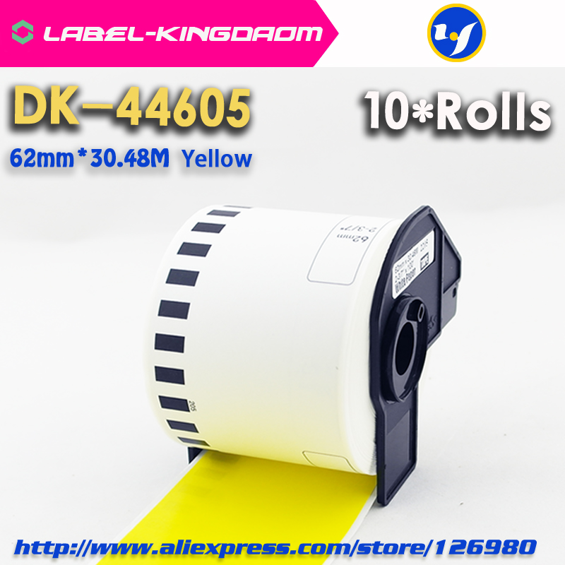 10 Rolls Generic Brother DK 44605 Labels 62mm 30 48M Yellow Color Compatible for Brother QL