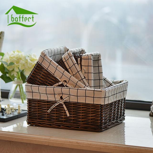 NEW Bamboo Weaving Storage Basket Fruit Rattan Storage Box For Jewelry Cosmetic Flowers Cloth Book Organizer Desk Storage Box