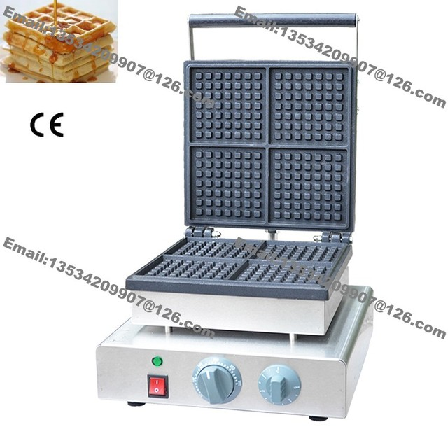 Free Shipping 4 Slice Commercial Non Stick 110v 220v Electric Square Traditional Belgium Belgian
