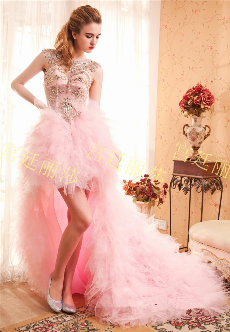 vestido de boda Blush Pink High Low Wedding Dress Sheer Back Short ...